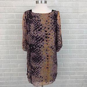 Rebecca Minkoff Silk Snake Print Shirt Dress - 10